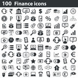100 finance icons set. Black, on white background Royalty Free Illustration