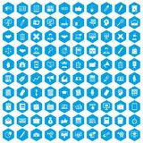 100 finance icons set blue. 100 finance icons set in blue hexagon isolated vector illustration stock illustration