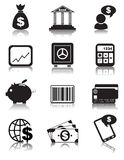 Finance icons. Set of 12 finance or business black  icons for your website Stock Photos