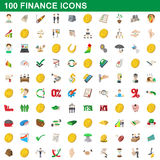 100 finance icons set, cartoon style Stock Photography