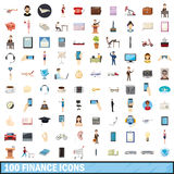 100 finance icons set, cartoon style Stock Photo