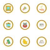 Finance icons set, cartoon style. Finance icons set. Cartoon style set of 9 finance vector icons for web design Stock Photo
