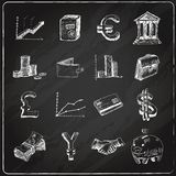Finance icons set chalkboard Stock Image