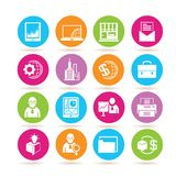 Finance icons. Set of 16 finance icons in colorful buttons Stock Photo