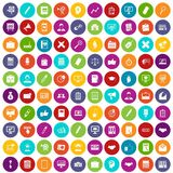 100 finance icons set color. 100 finance icons set in different colors circle isolated vector illustration Vector Illustration