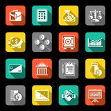 Finance icons set flat Stock Photos
