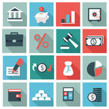 Finance icons. Set of 16 Finance icons. Flat design Stock Illustration