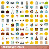 100 finance icons set, flat style. 100 finance icons set in flat style for any design vector illustration Stock Illustration