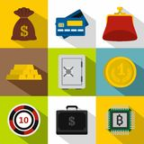 Finance icons set, flat style. Finance icons set. Flat illustration of 9 finance vector icons for web Royalty Free Stock Images