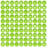 100 finance icons set green. 100 finance icons set in green circle isolated on white vectr illustration Royalty Free Illustration