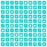 100 finance icons set grunge blue Stock Photos