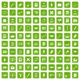 100 finance icons set grunge green Royalty Free Stock Photography