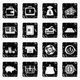 Finance icons set, grunge style. Finance icons set. Grunge illustration of 16 finance vector icons for web Stock Photos