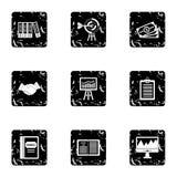 Finance icons set, grunge style. Finance icons set. Grunge illustration of 9 finance vector icons for web Stock Photography