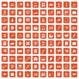 100 finance icons set grunge orange. 100 finance icons set in grunge style orange color isolated on white background vector illustration Stock Illustration