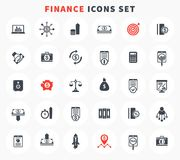 30 finance icons set, investment, stocks, funds. 30 finance icons set, investment, shares, stocks, funds, assets, analytics, financial instruments, investing Stock Photography