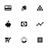 Finance 9 icons set. Isolated, black on white background Stock Photos