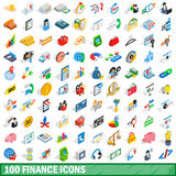 100 finance icons set, isometric 3d style Royalty Free Stock Photos