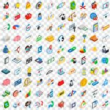 100 finance icons set, isometric 3d style Stock Photos