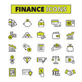 Finance icons set line Stock Image