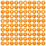 100 finance icons set orange. 100 finance icons set in orange circle isolated on white vector illustration Vector Illustration