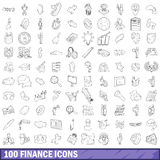 100 finance icons set, outline style Royalty Free Stock Photos