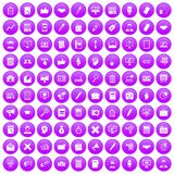 100 finance icons set purple. 100 finance icons set in purple circle isolated on white vector illustration Royalty Free Illustration