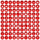 100 finance icons set red. 100 finance icons set in red circle isolated on white vector illustration Stock Image