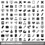100 finance icons set, simple style Stock Photo