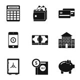 Finance icons set, simple style. Finance icons set. Simple illustration of 9 finance vector icons for web Royalty Free Stock Images