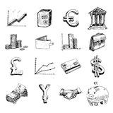 Finance icons set sketch Royalty Free Stock Photo
