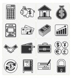 Finance icons set. Vector finance icons set 16 black color Royalty Free Stock Photos