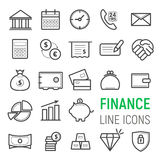 Finance icons set. Vector flat line illustrations Royalty Free Stock Images