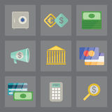 Finance icons set. Vector set of finance icons in modern flat design on gray background Stock Photo