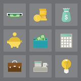 Finance icons set. Vector set of finance icons in modern flat design on gray background Royalty Free Stock Photography