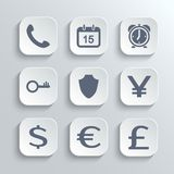 Finance icons set - vector white app buttons. With phone calendar alarm clock key shield euro dollar pound yen Royalty Free Stock Images