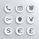 Finance icons set - vector white round buttons. With phone calendar alarm clock key shield euro dollar pound yen Royalty Free Stock Photos