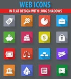 Finance icons set. Finance web icons in flat design with long shadows Stock Photos