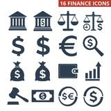 Finance icons set on white background. Vector illustration Stock Photos