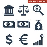 Finance icons set on white background. Vector illustration Royalty Free Stock Images