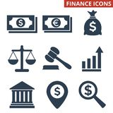 Finance icons set on white background. Vector illustration Royalty Free Stock Photo