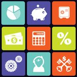 Finance icons square. Set of nine black finance icons on white background. eps10 Royalty Free Stock Photo