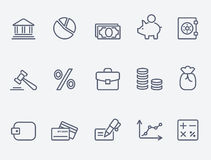 Finance icons. Thin lines. Flat design Royalty Free Stock Photo