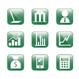 Finance icons,vector. Green glass style icon. Use for web design Stock Images