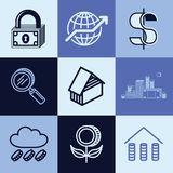 Finance icons vector set. Finance flat icons set logo ideas for brand Royalty Free Stock Photography