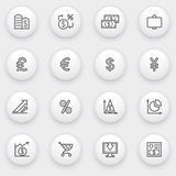 Finance icons with white buttons on gray backgroun Stock Photos