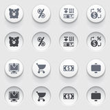 Finance icons on white buttons. Set 1. Vector icons set for websites, guides, booklets Stock Images