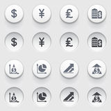 Finance icons on white buttons. Set 2. Vector icons set for websites, guides, booklets Royalty Free Stock Photography