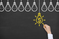 Finance Idea Concepts Drawing on Blackboard Background Stock Images