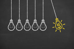Finance Ideas Bulb Concepts Working on Blackboard. On working business concept Royalty Free Stock Photo